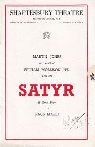 Satyr Paul Leslie Flora Robson Drama Shaftesbury Theatre Programme