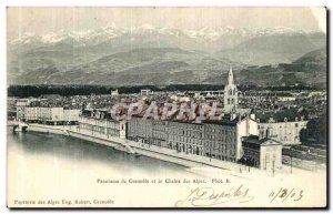 Old Postcard Panorama of Grenoble and the Chaine des Alpes