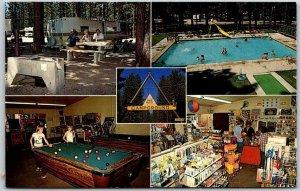 1960s LAKE TAHOE California Postcard TAHOE VALLEY CAMPGROUND Multi-View Chrome