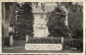 Wickford RI Old Narragansett Church Postcard #2