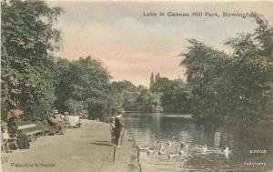 C-1910 Lake Cannon Hill Park Birmingham UK Valentine Series postcard 6933