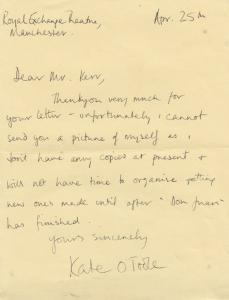 Kate O Toole Co Star of L'Homme Du Train with U2 Larry Mullen Hand Signed Letter