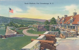 Fort Ticonderoga NY New York Cannon and Flag on South Platform - pm 1949 - Linen