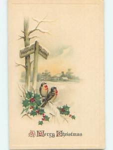 Pre-Linen christmas CUTE BIRDS UNDER HAPPINESS AND HEALTH SIGNS ON POST hr2803