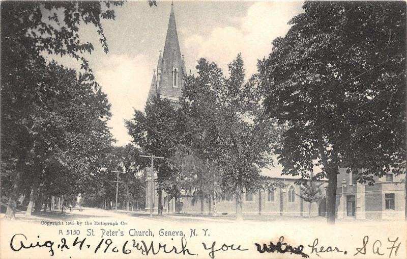 Geneva New York~St Peter's Church Bldg with Tall Steeple~1905 Rotograph Postcard