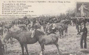 Champ De Foire A Lessay Sainte Croix Horse Horses Rare Repro France Postcard