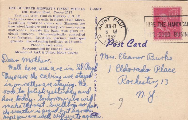 ST. PAUL, Minnesota, 30-40s; Lakes and Pines Motel