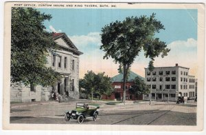 Bath, Me, Post Office, Custom House And King Tavern