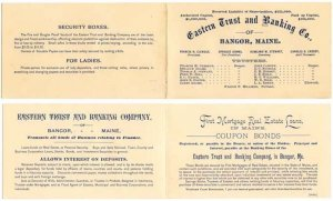 Vintage Brochure/Card, EASTERN TRUST and BANKING CO. of BANGOR, MAINE