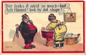 1910 Comic Postcard Fat Man With Cane Woman At Wash Tub  Washboard