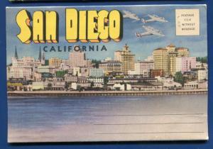San Diego California ca skyline aircraft carrier Municipal Pier postcard folder