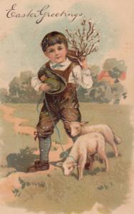 Easter Greeting, 00-10s; Boy walking lambs