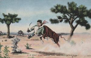 Great Sport Necking Steer - Western Artist L. H. Larsen - Linen
