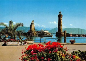 Lindau Bodensee Hafeneinfahrt Lighthouse Statue Lion Postcard