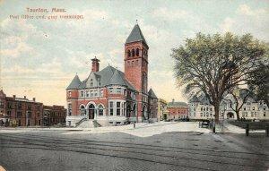 LPS84 Taunton Massachusetts Post Office Town View Vintage Postcard