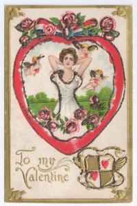 Cupid Cherub Pretty Lady Embossed Glitter Gold Patriotic Bow Valentine Postcard