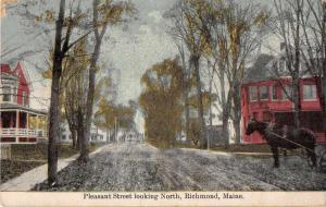Richmond Maine horse buggy Pleasant St looking north antique pc Y15671