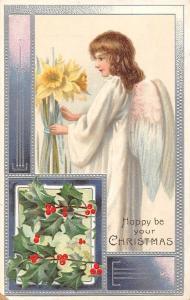 Happy Christmas Narcissus Mistletoes, Angel, Beautiful Lady Girl, Chromo
