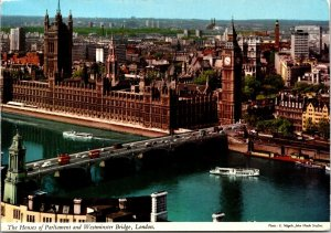 CONTINENTAL SIZE POSTCARD THE HOUSES OF PARLIAMENT & WESTMINSTER BRIDGE 1972