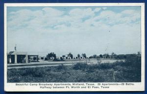 Midland Texas Broadway Apartments old postcard
