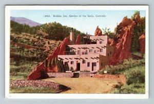 Garden Of The Gods CO-Colorado, Hidden Inn, Vintage Postcard