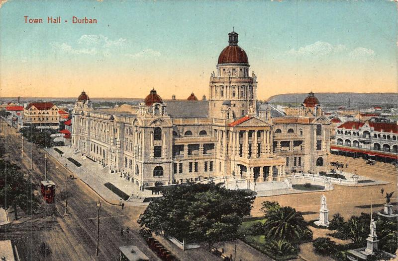 South Africa Durban city hall postcard