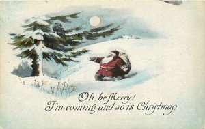 Fat Santa Claus Under Full Moon~Big Black Bird in Pine Tree~Be Merry! Christmas