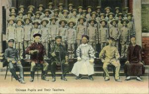 china, HONG KONG, Chinese Pupils and their Teachers (1910s)