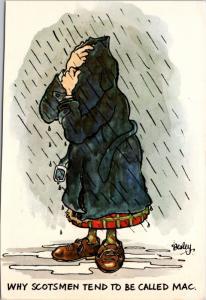 'Why Scotsmen Tend To Be Called Mac' Comic Kilt Rain Besley Postcard D35