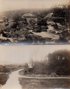 Dartmeet Bridge 2x Antique Real Photo Postcard s