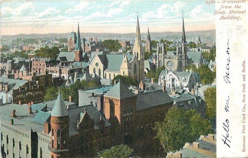 Worcester Massachusetts~Steeples, Turret View from State Mutual Building~1905