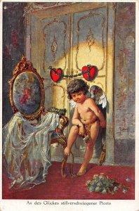 An des Gluckes stillverschwiegener Pforte Angel Cupidon Postcard
