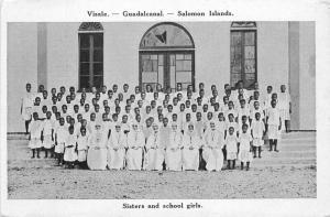 1930s Sisters School Girls Solomon Islands South Pacific Postcard 2423