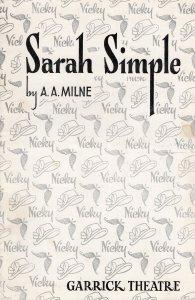 Sarah Simple AA Milne Viola Lyel Leonora Corbett Garrick Theatre Programme