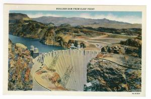 Boulder Dam from Elks' Point unused Linen Colortone Postcard