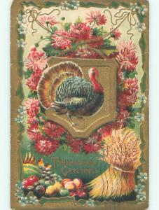 Pre-Linen thanksgiving COLORFUL TURKEY ON SHIELD & PINK FLOWERS & HAYSTACK k8861