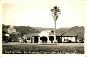 Vtg Postcard RPPC 1940s Calistoga, CA Pachateau's Natural Baths  Roadside - Cars