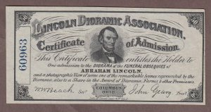 1860s Columbus Ohio Lincoln Dioramic Association Advertising Note UNC