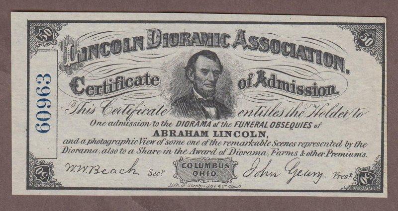 1860s Columbus Ohio Lincoln Dioramic Association Advertising Note UNC