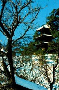 Japan Tokyo Japanese Garden Restaurant Pagoda and Plum Blossoms
