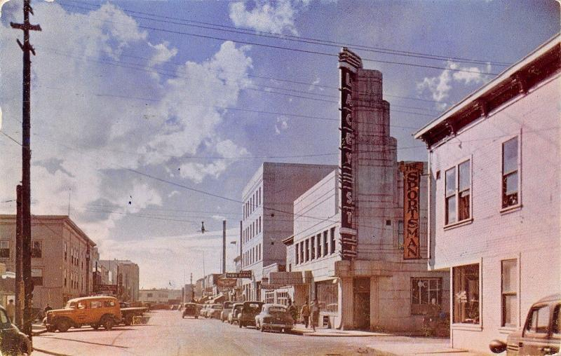 Fairbanks AK Art Deco Lacey St Theater~Sportsman~Yellow Panel Truck 1940s Cars