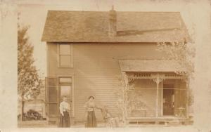 Victorian House Porch~Front Door Open~Ladies~Old Man in Rocking Chair~1908 RPPC