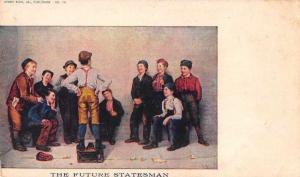 Children Boy on Soapbox The Future Statesman' Antique Postcard J65767