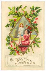 Lady & A Girl Wishing You Christmas Joy, 1900-1910s