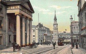 Royal Hotel Clock Tower Street Tram Plymouth Postcard