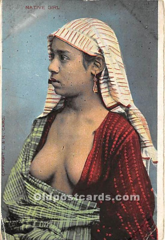 Arab Nude Postcard Native Girl Unused