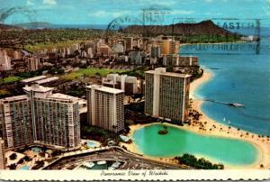 Hawaii Waikiki Panoramic View With Diamond Head In Background 1976