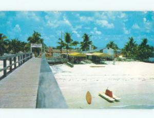 Pre-1980 SURFBOARD & ONE MAN PADDLEBOAT ON BEACH SHORE Fort Myers Beach FL d7936