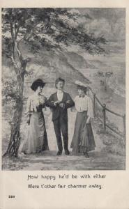 Man With Two Lovers Wanting One To Part Go Away Antique Escort Postcard