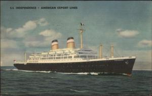American Export Lines Steamship SS Independence Used Airmail Gibraltar PC